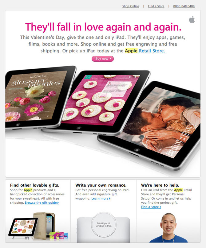 Eleven2 Web Hosting Blog Apple Valentine S Day Email Design