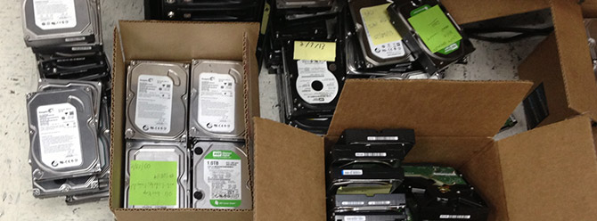 Boxes of HDD's at eleven2